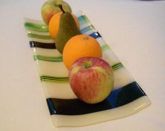 Green & Cream Platter in Glass