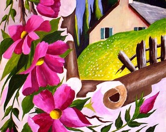 Original Acrylic painting Landscape, Wildflower Cottage, Flower painting 9 x 12 gessobord by artist Michael Hutton