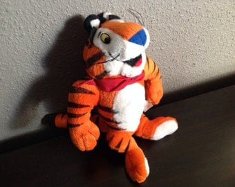 Retro Plush Tony the Tiger Kellogg's Frosted Flakes Cereal Moveable Premium Stuffed Toy 1 Promo Ad 1997