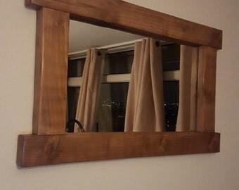 Large Rustic Handcrafted Reclaimed Wood Mirror