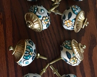 8 Hand painted Furniture Knobs