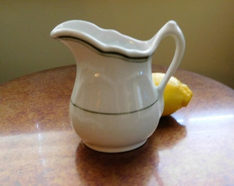 Restaurant ware pitcher. Wellsville China. White with dark green lines. Vitrified china - hotel ware. Vintage. SALE Was 19.00