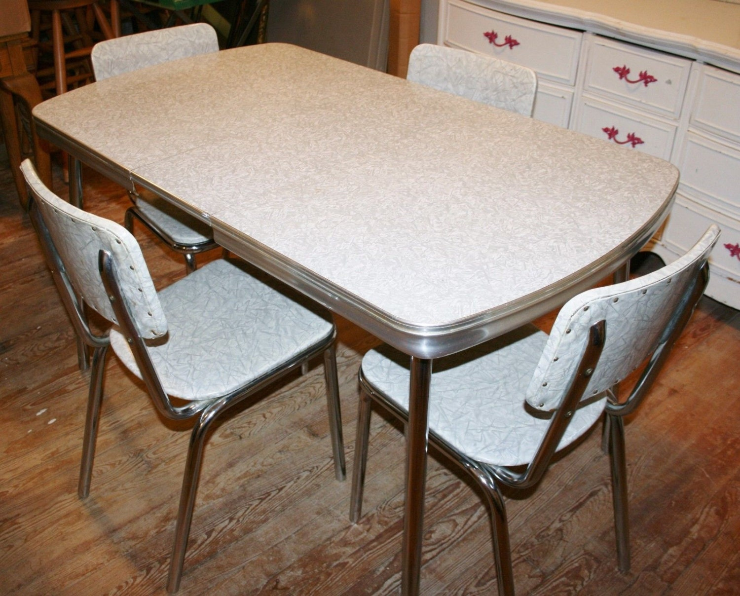 1950s retro formica kitchen dinette set table 4 chairs