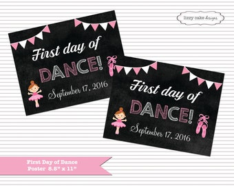 1st Day of Dance, Dancing School Chalkboard Poster Sign Printable