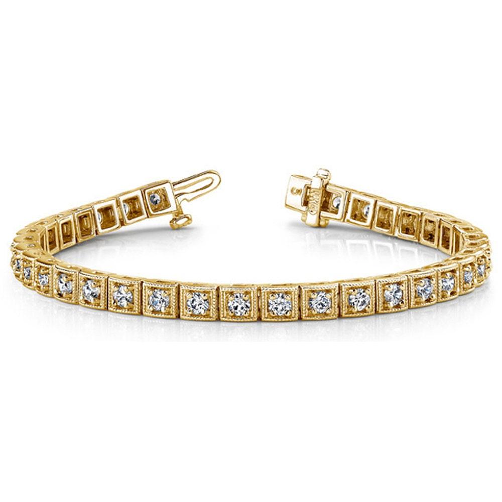 34 Grams Unique Diamond Set: Tennis Bracelet Diamond Thick Bezel Set 14k Gold Antique