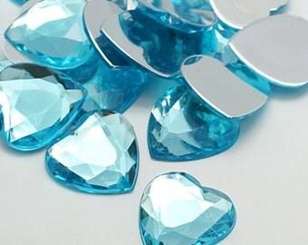 Aqua rhinestones - 18mm Aqua rhinestones - Set of 20 - Heart rhinestones - Aqua blue hearts - Gems for crafts - Hair bow centers - Heart gem