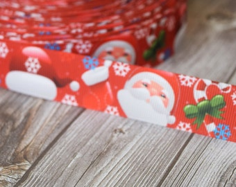 "Santa ribbon - Christmas ribbon - 7/8"" Grosgrain ribbon - Santa Claus ribbon - Holiday ribbon - Ho ho ho ribbon - Santa hat - Snow flake"