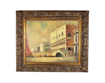 Italian Impressionist Oil Painting Venice Scene Signed Ambra Ornate Frame