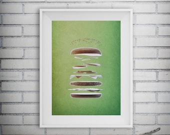Hamburger Art, Cheeseburger Print, Fast Food Decor, Restaurant Decor, Kitchen Print, Cuisinart Decor, Printable Art, Digital Download