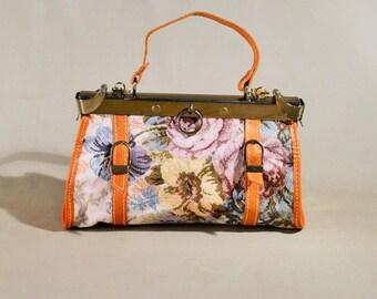 Retro Vintage Embroiderie Cognac Colored Bag, Handbag, Shoulderbag, Doctors Bag