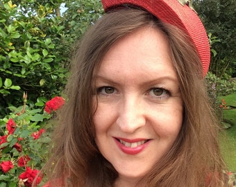 50s style red straw hat with velvet strawberries and leaves