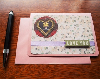 Pearlescent pink 'Love you' Mother's Day card