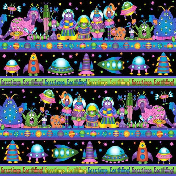 End of bolt sale rjr fabrics welcome to my world 1 yard for Space themed fleece fabric