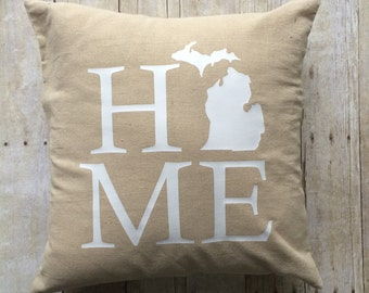 Michigan Home Pillow Cover- Michigan Pillow- State pillow cover- Pillow Cover- Linen Pillow Cover- Michigan Pillow Cover- Michigan Home