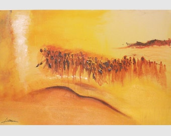 Exodus, giclee of acrylic painting on canvas, unique Jewish art, cultural decoration, art with significance, Jewish abstract art