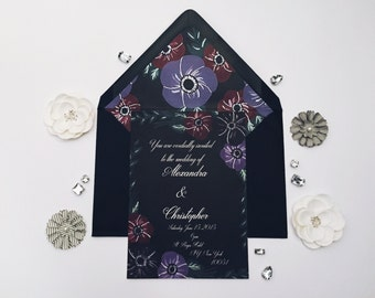 Dark floral  black gothic wedding invitation suite with envelope liner