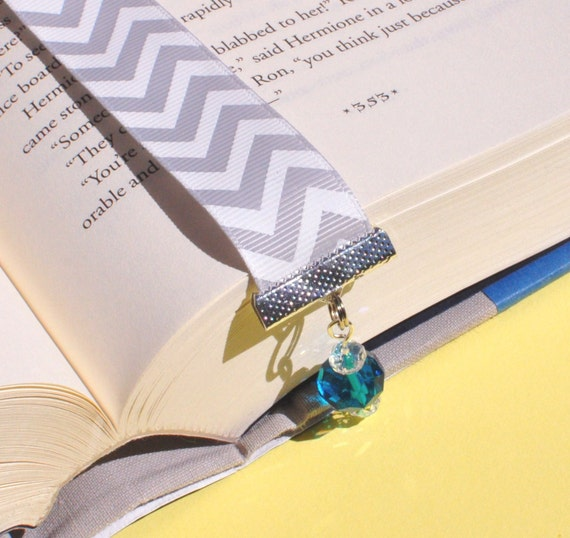 Ribbon Bookmark - Chevron Fabric - Beaded Bookmark - Chevron Bookmark - Teacher Gift - Student Gift - Gifts Under 10 - Book Lover