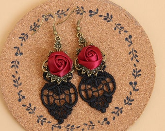 Rose drop earrings lace earring