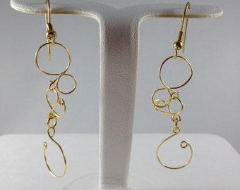 Gold Wire Dangle Earrings