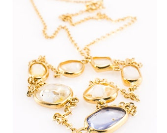 18K Sapphire Gold Necklace Yellow Gold