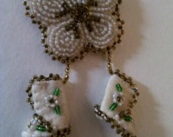 Souvenir beaded felt moccasin pin
