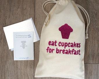 Eat Cupcakes for Breakfast Linen Gift Bag