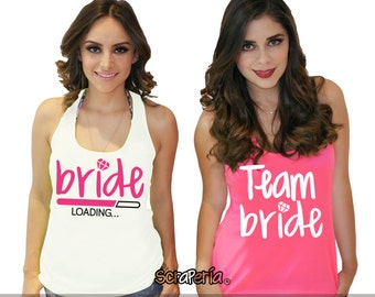 "Bachelorette Party Tank Top ""Bride loading/team bride"" - White & Neon Pink"