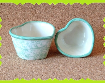 House Warming-Gift-New Home-Ceramic-Heart-Nesting-Bowls-Country-Spongeware-Accent-Decor-Birthday-Mother's Day-Valentine's Day