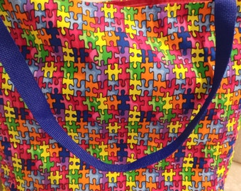 Autism Awareness, Autism Speaks,  Reusable Farmers Market / Grocery / Gift / Shopping Bag / Tote