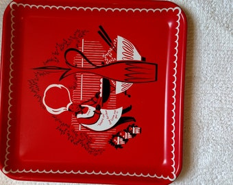 Marcelline Square 13 inch metal vintage tray