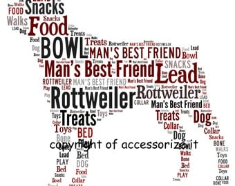 Personalised A4 Size Rottweiler Rottie Word Art Print - Pet Memorial *Digital File Also Available*