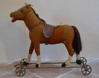 Fantastic Antique Large Plush Horse on Wheels, Pull Toy, Horse, Teddy Bear, Leather Saddle, Steiff?