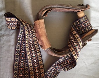 Vintage Leather and Wood Stirrup for Western Decor