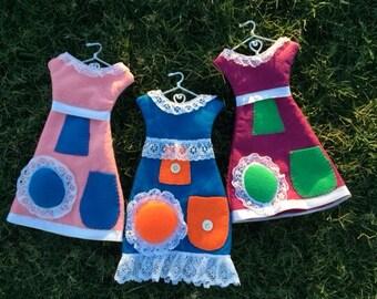 Sale! Felt Dress Form Pin Cushion with Metal Hanger - Purple Dress