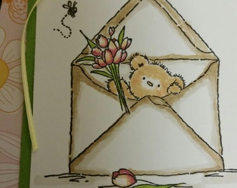 Thinking of you Greeting Card; Handmade Thinking of You Card