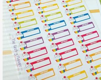 33 Birthday reminder rainbow planner stickers great for  happy planner etc