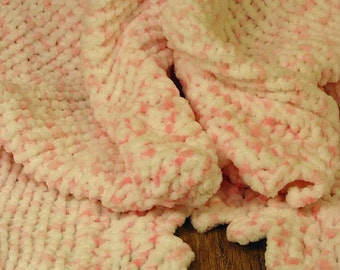 Knitted Baby Blanket - Pink