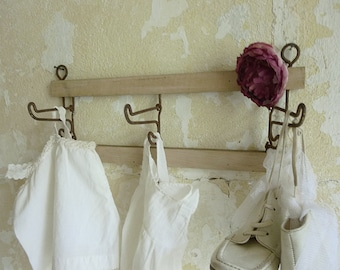 Antique Art Deco coat rack with rustic shabby patina....CHARMANT!