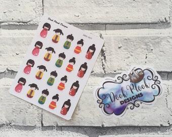 Japanese doll sticker set for Erin Condren, Plum Paper, Filofax, Kikki K (DPD067)
