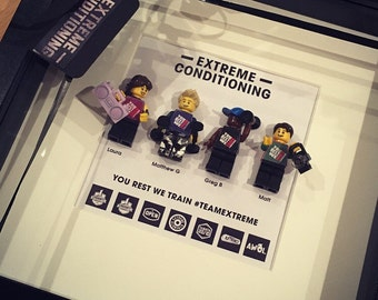 Lego mini figures customised FAMILY, work place, friends personalised gift frame