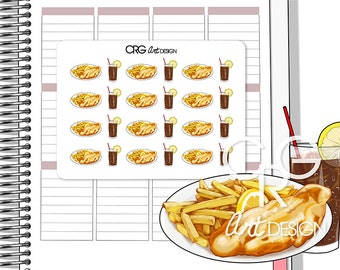 Fish & Chips Stickers | Planner Erin Condren Plum Planner Filofax Sticker