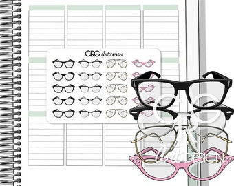 Glasses Stickers | Planner Erin Condren Plum Planner Filofax Sticker