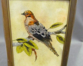 Vintage Reverse Painting Tempera On Glass In Wood Frame