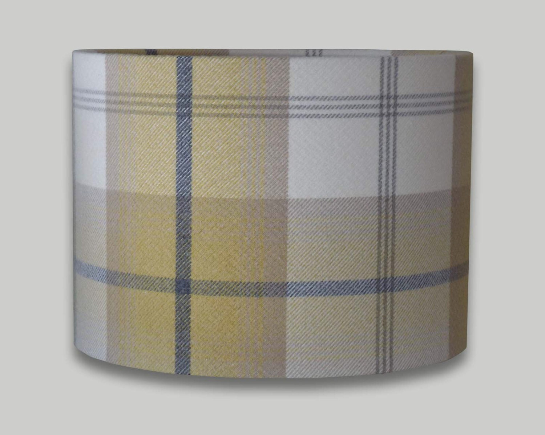 Balmoral Ochre Tweed Check Tartan Grey Cream Yellow Drum