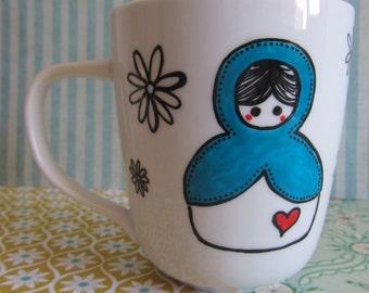 """""""Lovely Dolls"""" handpainted ceramic white mug / / White handpainted ceramic mug """"Lovely Dolls"""""""