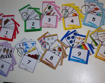 Number Cards--Number Rings--Montessori Math--Number to Quantity association