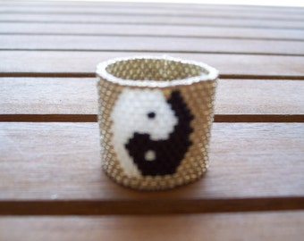 Ring Yin and Yang weaving peyote