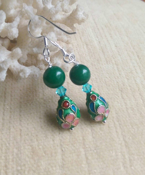 Green Jade & Cloisonne Drop Earrings Handcrafted With Genuine. Colors Emerald. Estate Diamond Bands. Black Agate Pendant. 3 Gold Necklace. 7ct Diamond. Hand Crafted Wedding Rings. Wedding Band Rings. Owl Rings