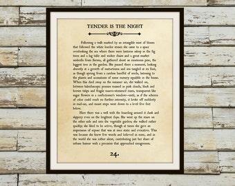 TENDER is the NIGHT - Book Page Wall Art - F. Scott Fitzgerald- Book Lovers Large Wall Poster- Great For Home or Classroom Decor