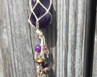 Amethyst hemp wrapped crystal necklace